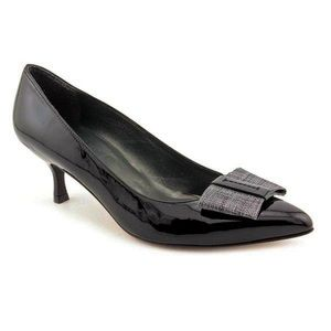 Stuart Weitzman Tux Bow Patent Leather Black Heel